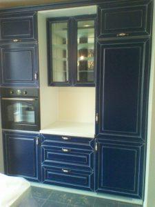 Mėlyni virtuvės baldai